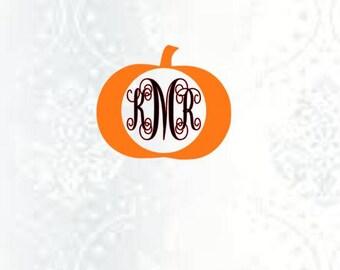 Pumpkin monogram frame-pumpkin svg file-pumpkin dxf file-pumpkin jpg file-cut design file-silhouette file.