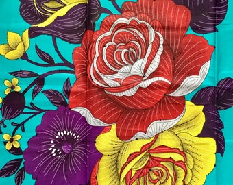 African Print Fabric/Ankara - Turquoise 'Epic Blooms' Design, YARD or WHOLESALE