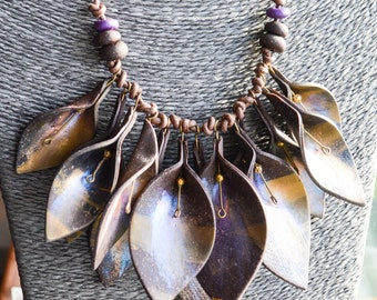 Chocolate Leaf Drop Necklace on Leather Cord Gifts for Her
