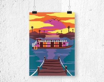 Poster Cambodia Cruise - A3 print A4 poster - sunset poster - cruise poster ship print river illustration poster A3 romantic gift for her
