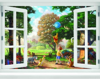 Window with a View Disney Winnie the Pooh 100 Acre Wood Wall Mural