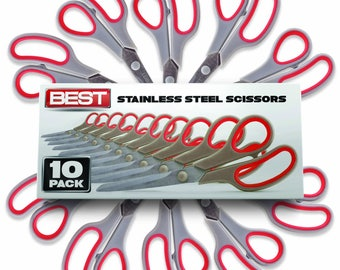 Best 8 Inch Stainless Steel Blade Scissors, Pack of 10
