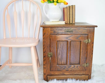 SOLD - White Clad Ice Box Nightstand, Side Table.