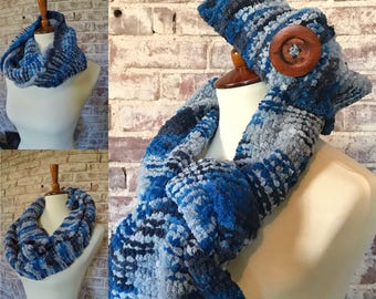 Blue marbled scarves and headbands