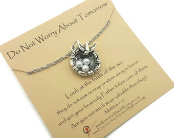 Christian Jewelry, Scripture Jewelry, Christian Jewelry for Women, Message Jewelry,  Don't Worry About Tomorrow, Matthew 6:26