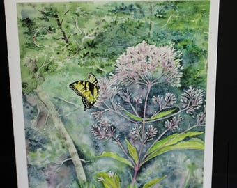 Joe Pye Weed with Tiger Swallowtail Greeting Card 5 by 7 inches with white envelope