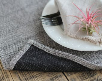 Black natural linen placemats, Elegant thick placemats, Luxury style tablemats, Softened linen placemats, Nautural placemats