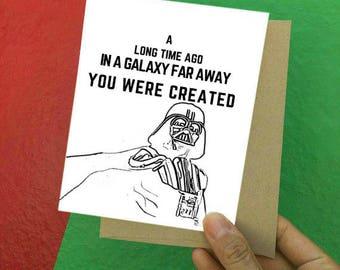 Birthday Card - Funny Birthday Card - Happy Birthday Card - Star Wars Birthday Card - Darth Vader - Star Wars Card - Darth Vader Card- Vader