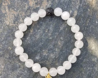 White jade Pineapple and Lava Essential oil bracelet - Lava beads - Healing stone beads - White Jade - Aromatherapy - Diffuser