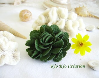Women's fashion, flower brooch, fabric textile embossed, moss green, passing metal PIN.