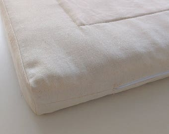 Flax mattress, Linen mattress for adult, Eco mattress, organic mattress for bed, All SIZES, height 5cm (2 inches),top - cotton