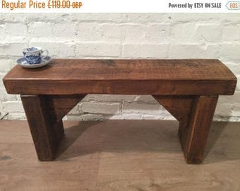 Summer Sale Free Delivery! * ONLY 1 * 3ft Old CHURCH BEAM Solid Rustic Wood Reclaimed Pine Dining Table Vintage Bench - Village Orchard Furn