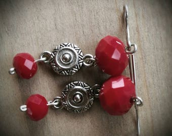 Faceted Red Czech Crystal and Silver Drops