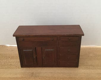 Dollhouse furniture vintage wooden buffet/sideboard