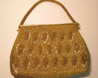 Vintage Gold Beaded Evening Bag      (#684)