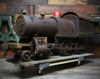Antique Folk Art Gas Powered Steam Engine Railroad Locomotive Yard Train LARGE Vintage Cast Iron Wood Display Piece Primitive bell Motorized