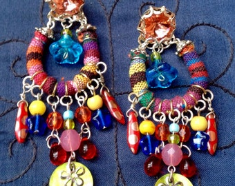 Boho chic tribal bead earrings