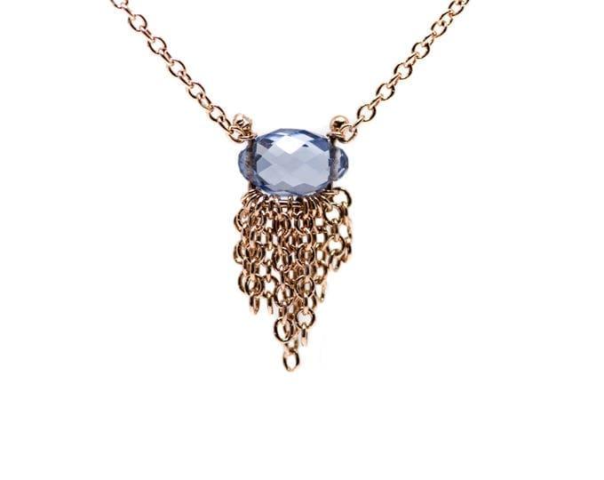 Rose Gold Sapphire Fringe Necklace