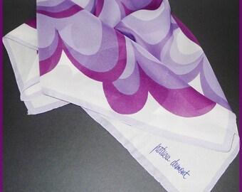 """Designer signed  vintage purple/whitE scarf - Patricia Dumont -   Très joli foulard de Patricia Dumont 27"""" x 27"""""""