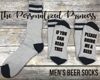 If you can read this socks, Please bring me a beer, Beer Socks, Wine socks, Valentines day, Canada socks, Beer,  Mens Gift, Mens socks