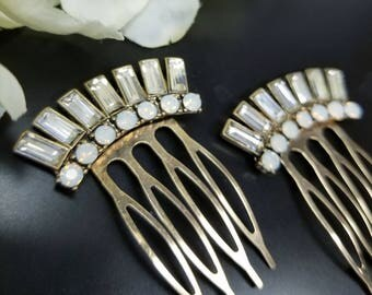 Pair of Gold Wedding Combs, Gold Art Deco Hair Combs, Set of 2, 1920's Hair Accessories, Vintage Milk Crystals, Milk Glass, Gatsby Weddings
