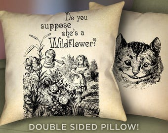"""Alice in Wonderland Pillow Case - 18"""" x 18"""" - Alice in Wonderland Do You Suppose She's A Wildflower Pillow Cushion - Alice Pillow  - 2010"""