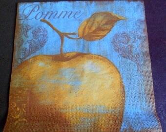 Apple 4 paper napkins, napkin paper napkin vintage fruit