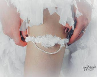 Satin and Pearl Jewelry Wedding bridal garter