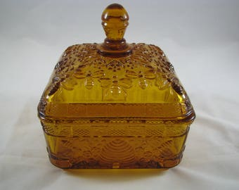 INDIANA glass Honey Dish #132 Amber made only 1973-77
