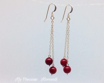 14k gold filled earrings. Red coral dangle earrings. Christmas Valentines drop earrings. Bridal earrings. Bridesmaid earrings.