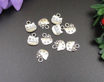 10PCS 10x13mm Silver Cat Head Charms-p1803-B