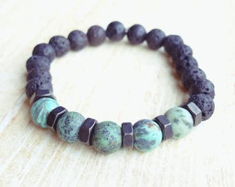 African Turquoise and Lava Bead Bracelet