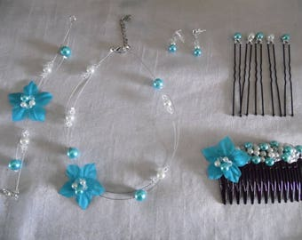 complete 5 piece teal/white silk wedding flower bridal set