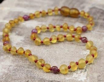 Limited Edition* - July Birthstone - Genuine Baltic Amber Teething Necklace - July Gemstones - Genuine Ruby Gemstones - Ruby Birthstone