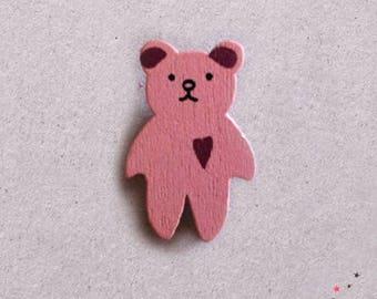 Button wood little pink bear