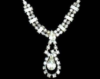 Rhinestone Tear Drop Statement Necklace, Prom, Bridal Jewelry