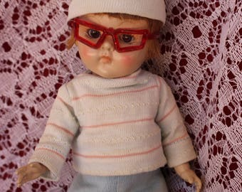 """Vintage 1950's doll glasses , Red Jelly Sparkle glasses For your 8"""" Ginny dolls and friends , Muffy too ! 2 colors"""