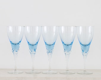 Vintage Blue Wine Glasses - Retro Claw Foot Wine Glass - Barware