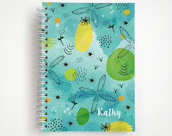 Just Beachy Abstract Teal Notebook   Journal   Studio Carrie Notebook   Gift