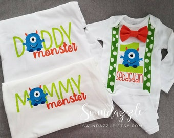Monster first birthday family shirts - little monster family shirts - monster mommy - monster daddy - first monster birthday shirt - monster