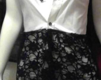 Shirt dress, up cycled shirt dress , lace shirt, shirt ,shirt , women's dress shirt, re worked shirt , lace shirt