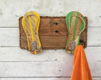 flip flop towel rack key ring hooks reclaimed wood wall art outdoor towel