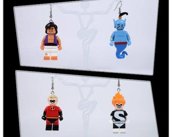 Earrings Minifigures - Aladdin - Genie / Mr. Incredible - Syndrome