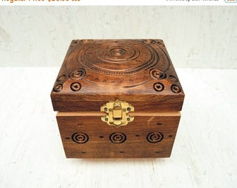 ON SALE Engraved Wooden Box - Handmade Carved Box - Jewelry box