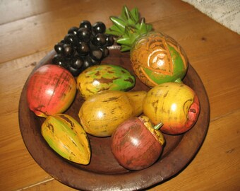 Fruit and carved wooden tray, decoration.