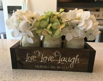 Personalized Wedding Gift | Couples Gift | Bridal Shower Gift | Wedding Shower Gift | Anniversary Gift | Live, Laugh, Love Planter w/ Jars