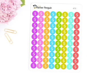 Dollar sign icon circle Stickers For Erin Condren Life Planner, EC Horizontal, Happy planner or any other Planner // Item #076