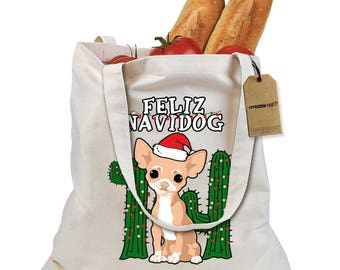 Feliz Navidog Ugly Christmas Shopping Tote Bag