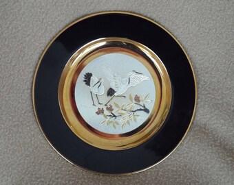 Japanese Chokin Plate 1983; Vintage Decorative Plate