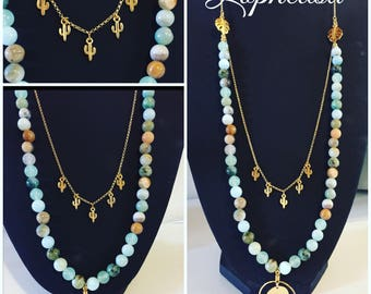 Necklace semi precious agate, Medal and cactus plated chain gold, French creation lophelisa